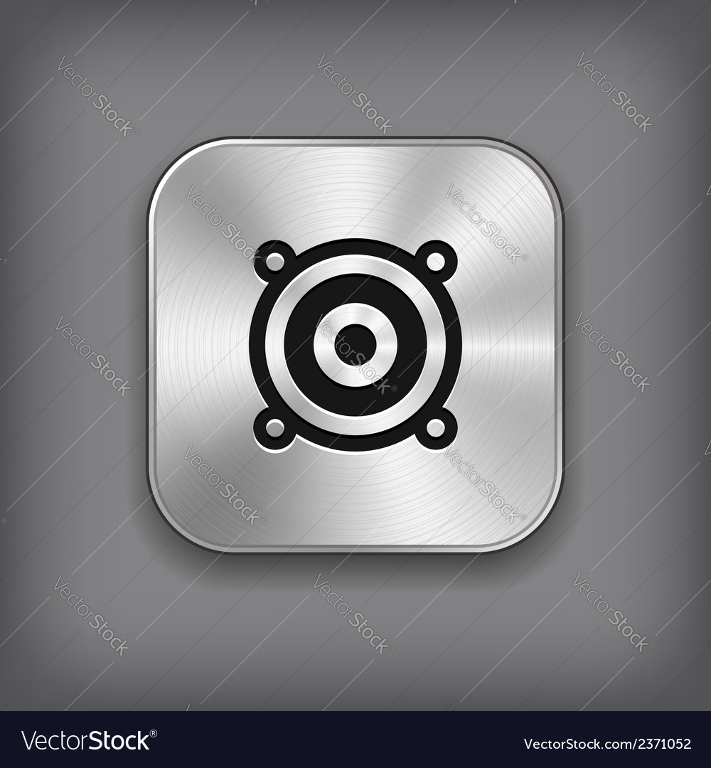 Audio speaker icon - metal app button vector | Price: 1 Credit (USD $1)