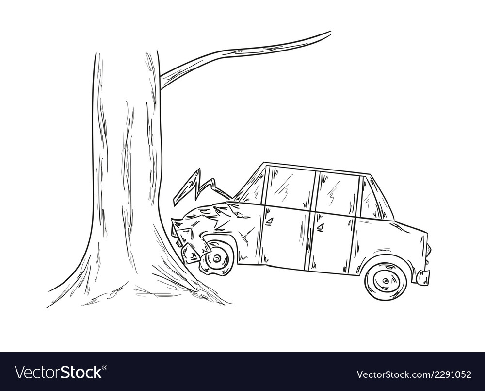 Car accident sketch vector | Price: 1 Credit (USD $1)