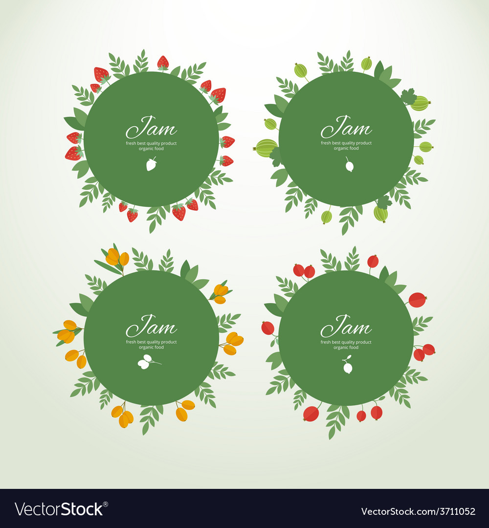 Collection labels with fresh berries vector   Price: 1 Credit (USD $1)