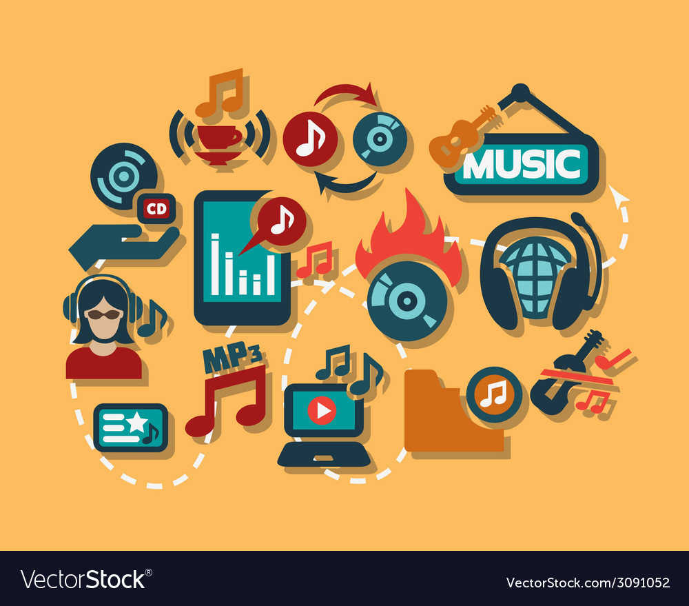 Color flat music icons set vector | Price: 1 Credit (USD $1)