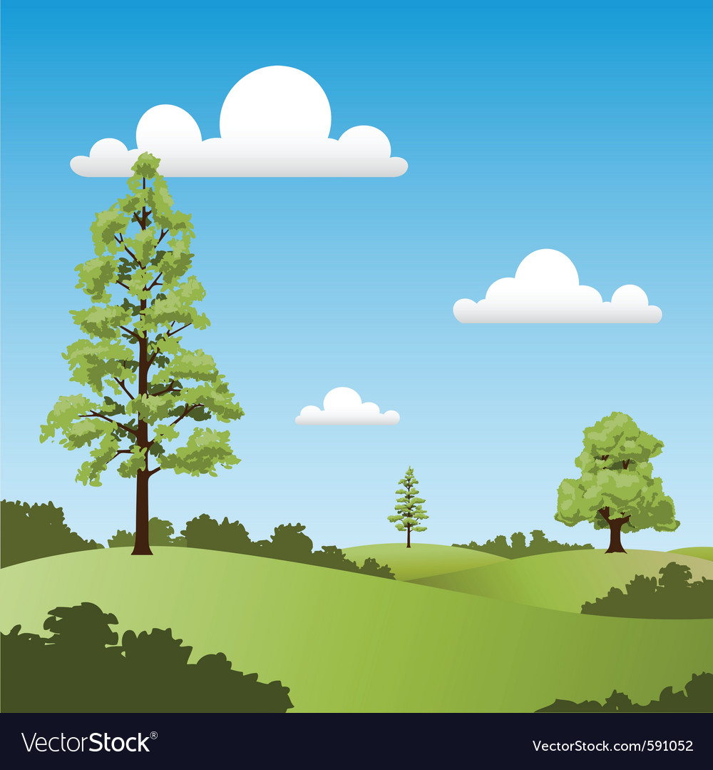 Country landscape vector | Price: 1 Credit (USD $1)