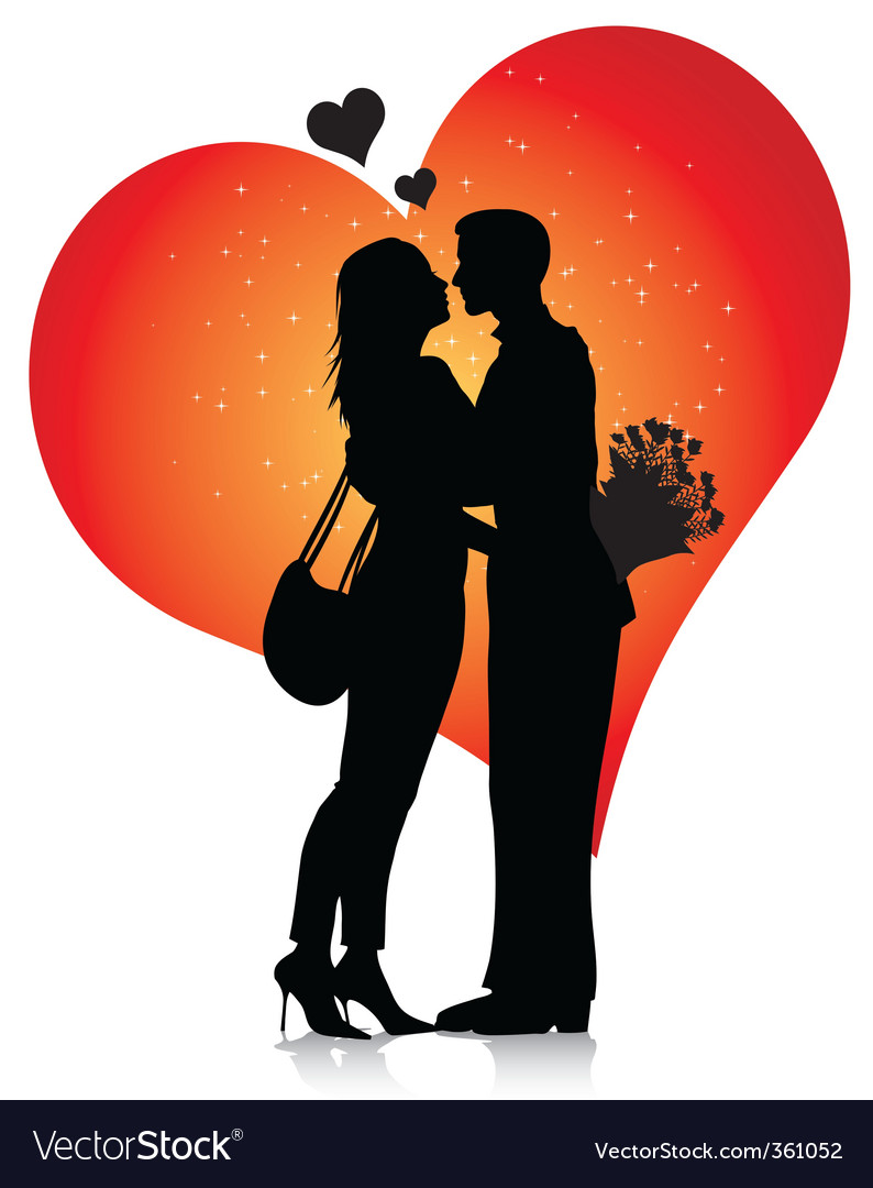 Couple silhouette with hearts vector | Price: 1 Credit (USD $1)
