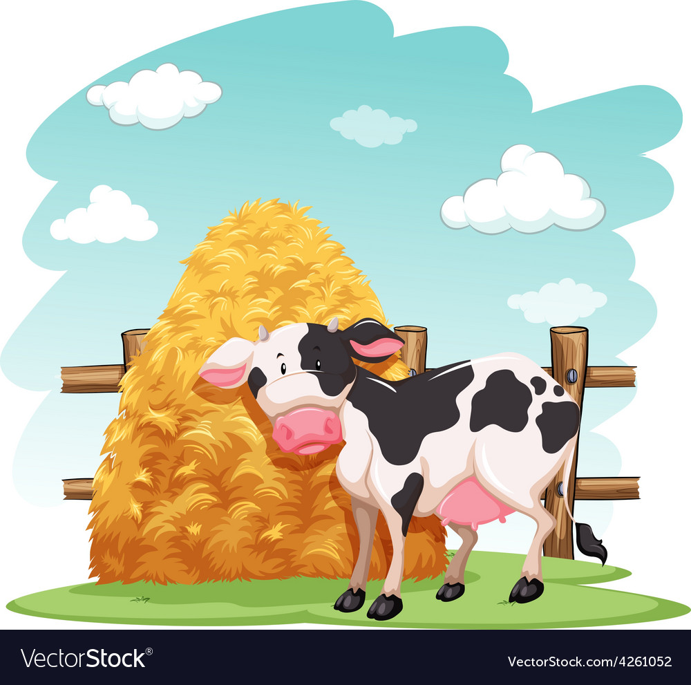 Cow and a pile of haystack vector | Price: 1 Credit (USD $1)