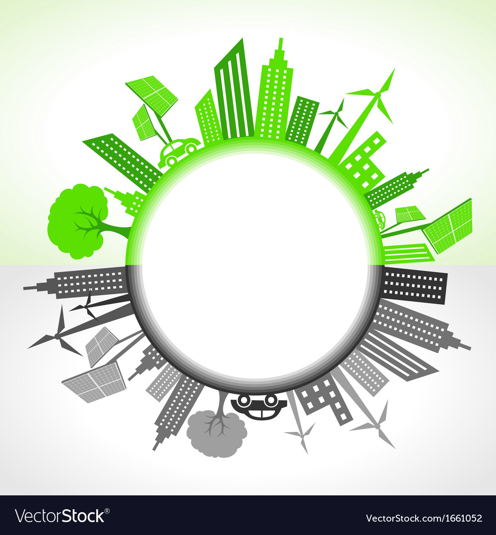 Eco and polluted city around circl vector | Price: 1 Credit (USD $1)