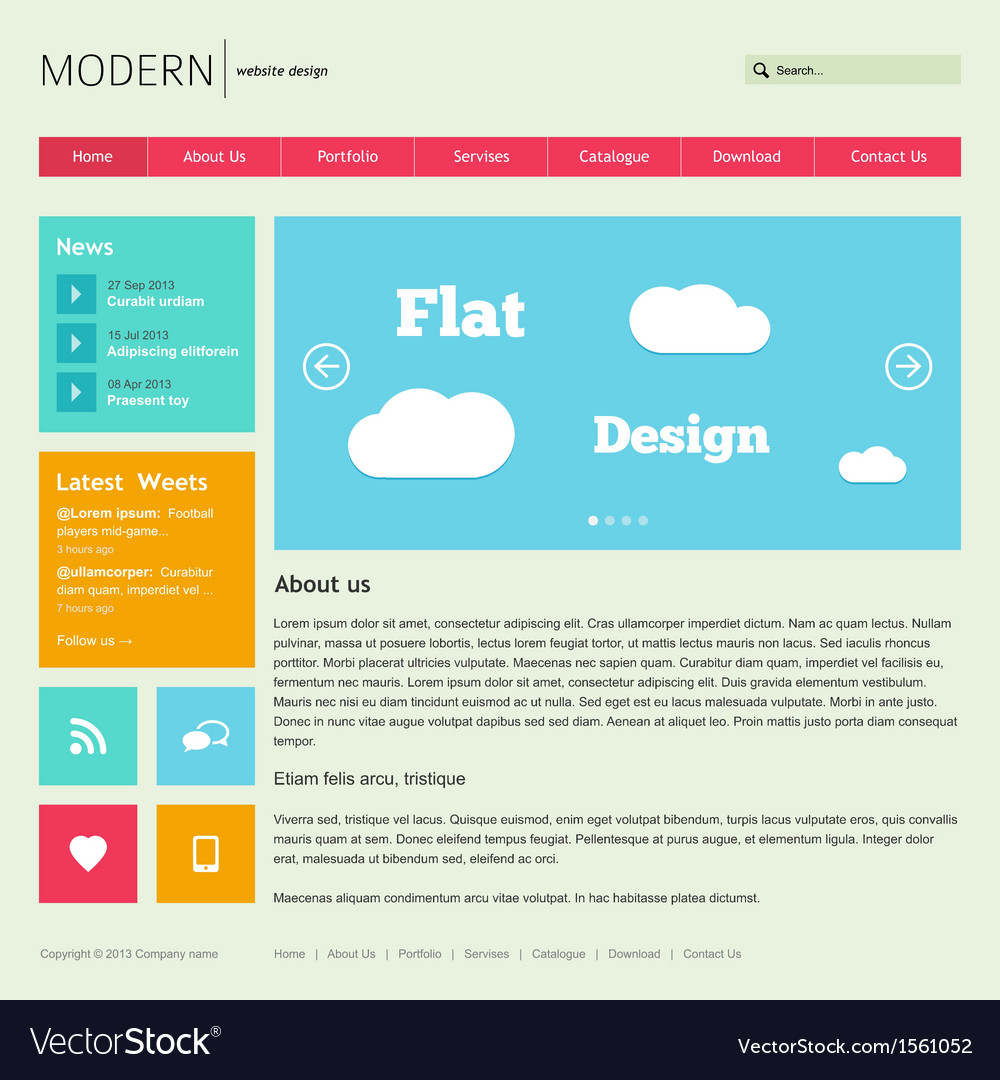 Flat web design template vector | Price: 1 Credit (USD $1)