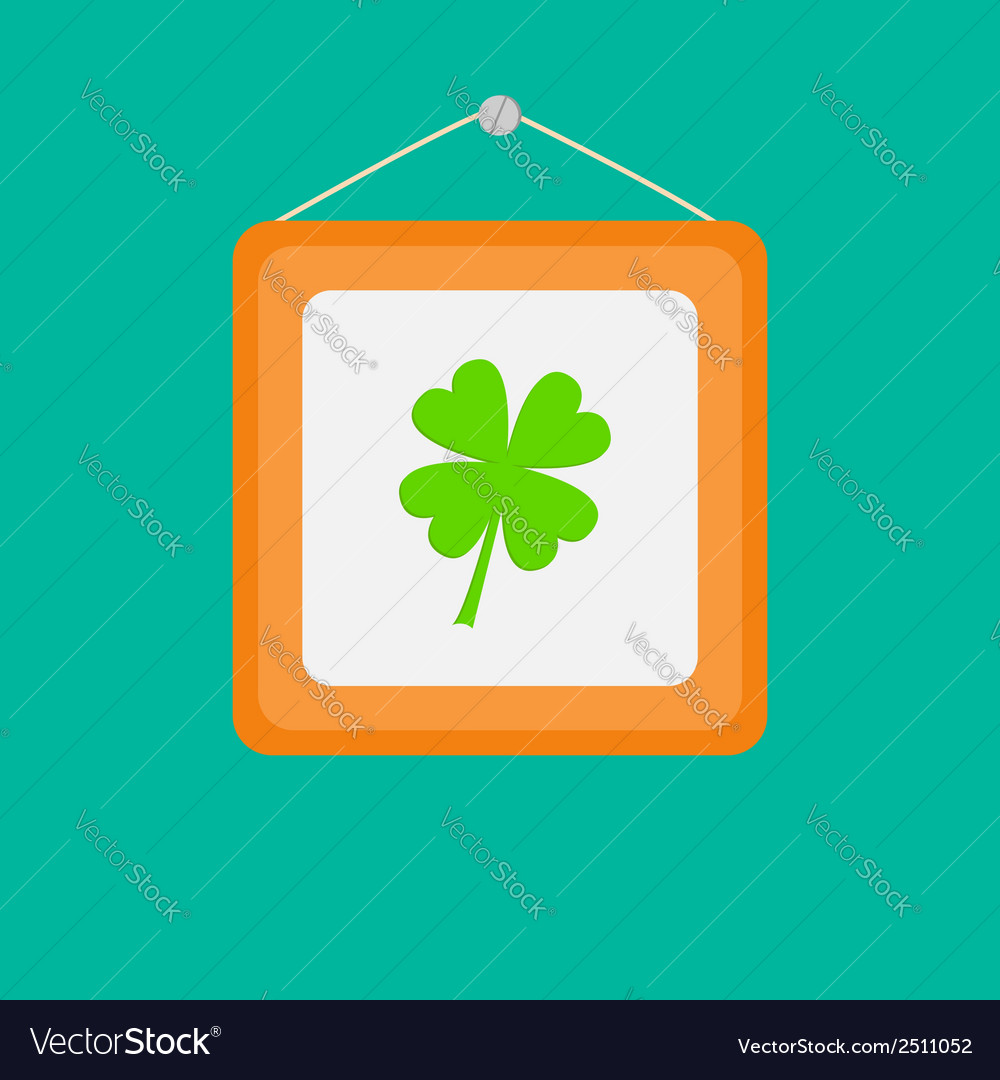 Four leaf clover picture frame on the wall flat vector | Price: 1 Credit (USD $1)