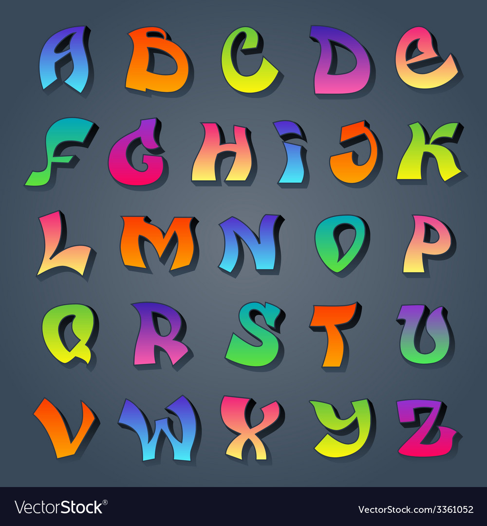 Graffiti alphabet colored vector | Price: 1 Credit (USD $1)