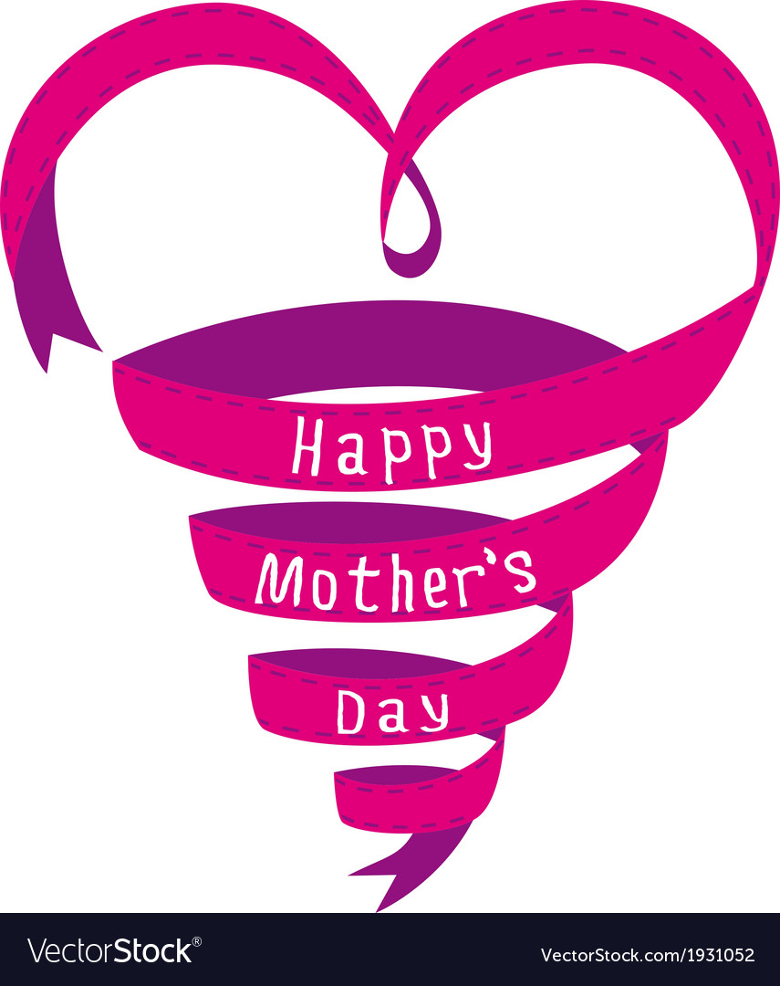 Happy mothers day card heart shaped ribbon vector | Price: 1 Credit (USD $1)