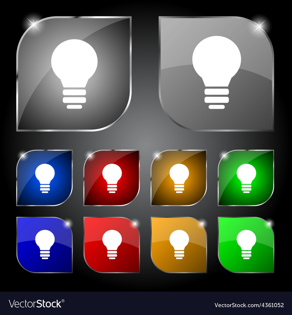 Light lamp idea icon sign set of ten colorful vector | Price: 1 Credit (USD $1)