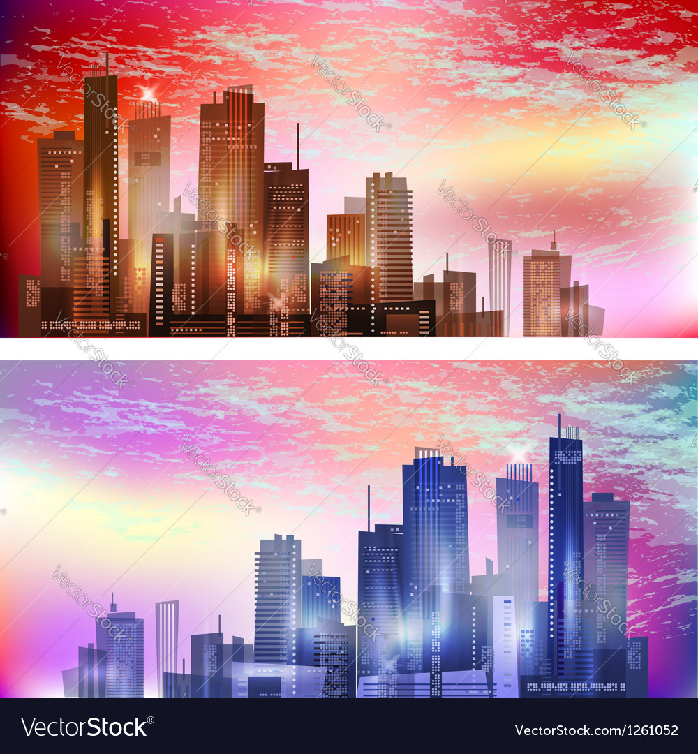 Modern city landscape in sunset vector | Price: 1 Credit (USD $1)