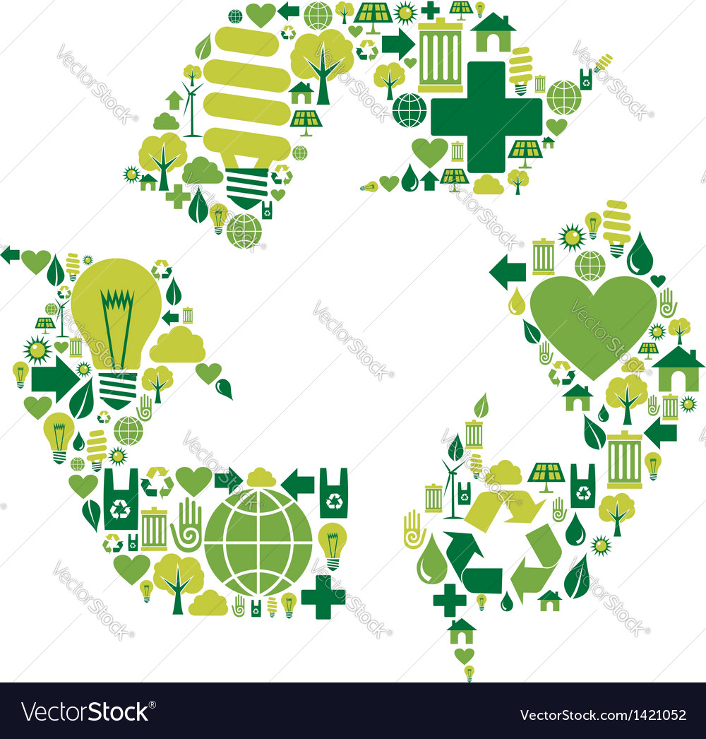 Recycle symbol with environmental icons vector | Price: 1 Credit (USD $1)