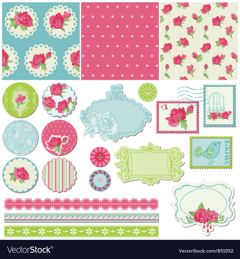 Scrapbook design elements - rose flowers vector | Price: 1 Credit (USD $1)