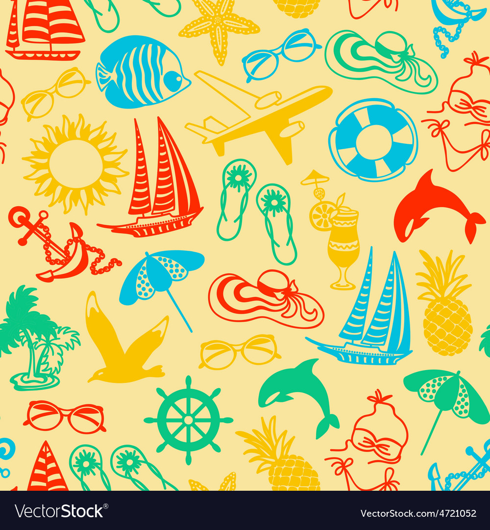 Seamless pattern of colored summer icons vector | Price: 1 Credit (USD $1)