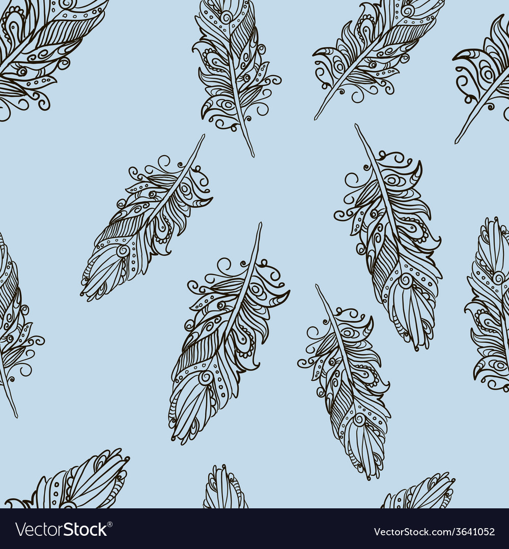 Seamless pattern with doodle feathers vector | Price: 1 Credit (USD $1)