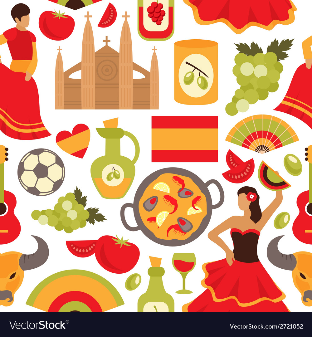 Spain seamless pattern vector | Price: 1 Credit (USD $1)
