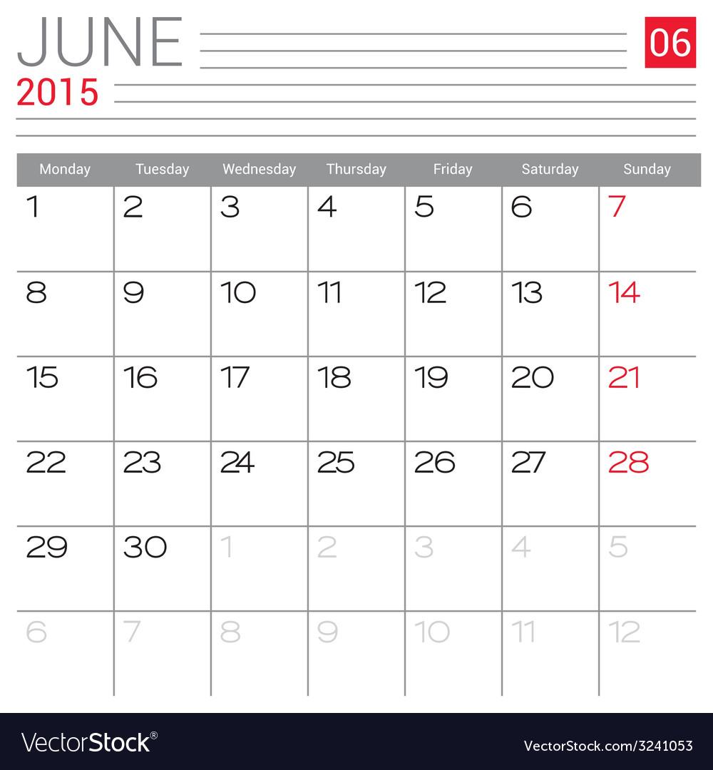 2015 june calendar page vector | Price: 1 Credit (USD $1)