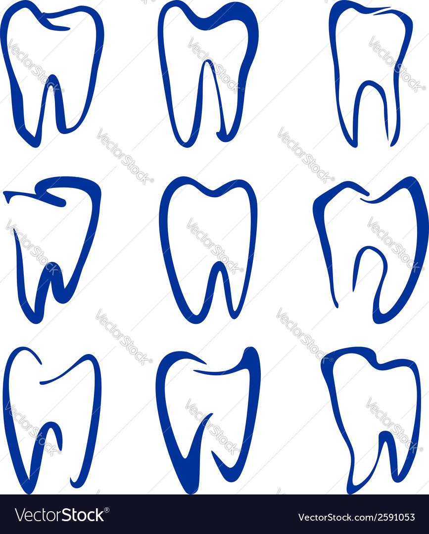Abstract teeth set sketch cartoon vector | Price: 1 Credit (USD $1)