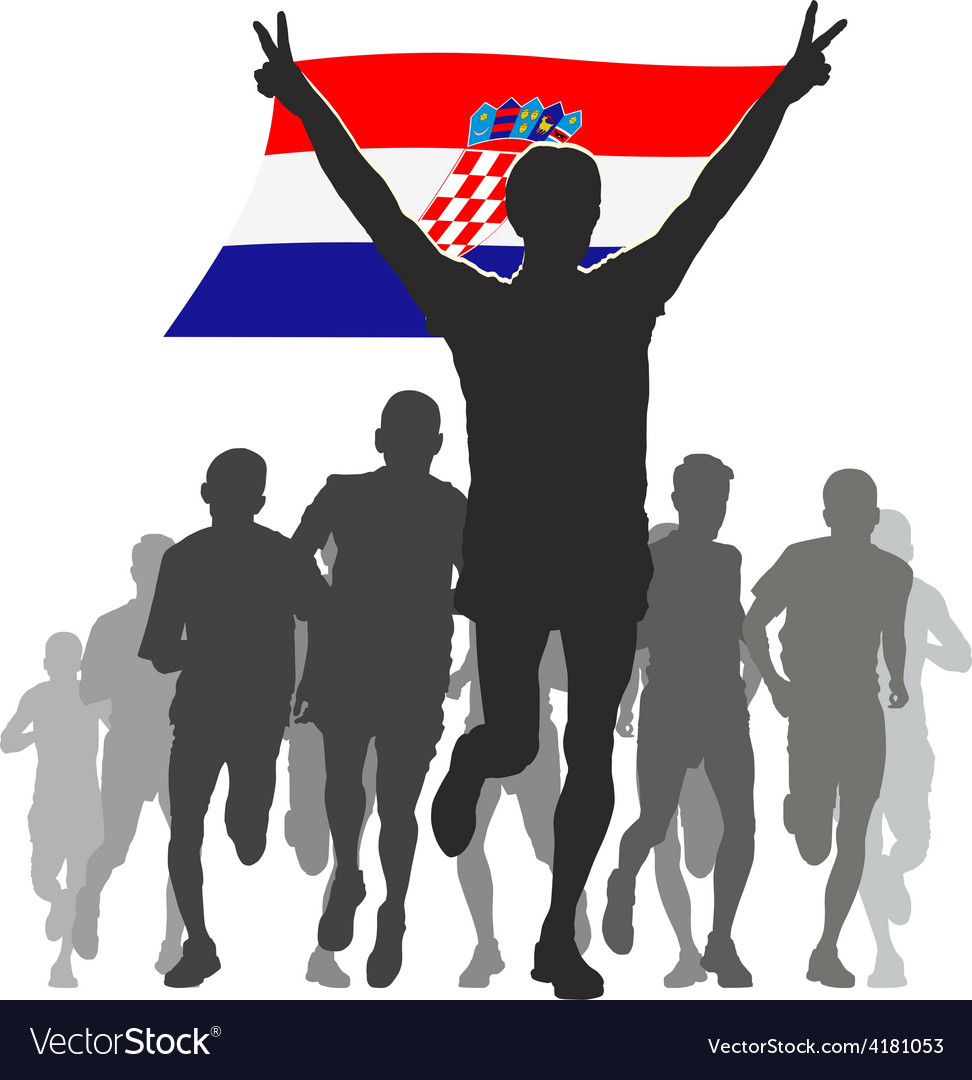Athlete with the croatia flag at the finish vector | Price: 1 Credit (USD $1)