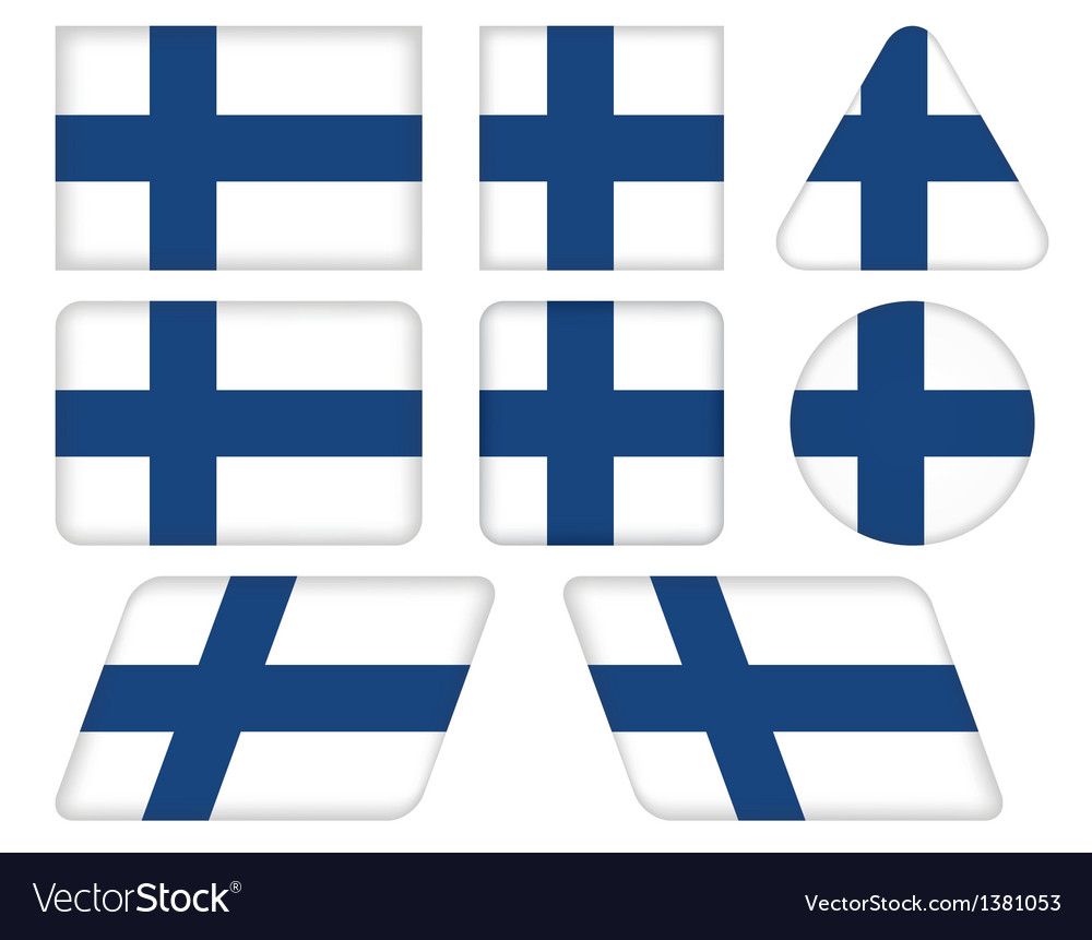 Buttons with flag of finland vector | Price: 1 Credit (USD $1)