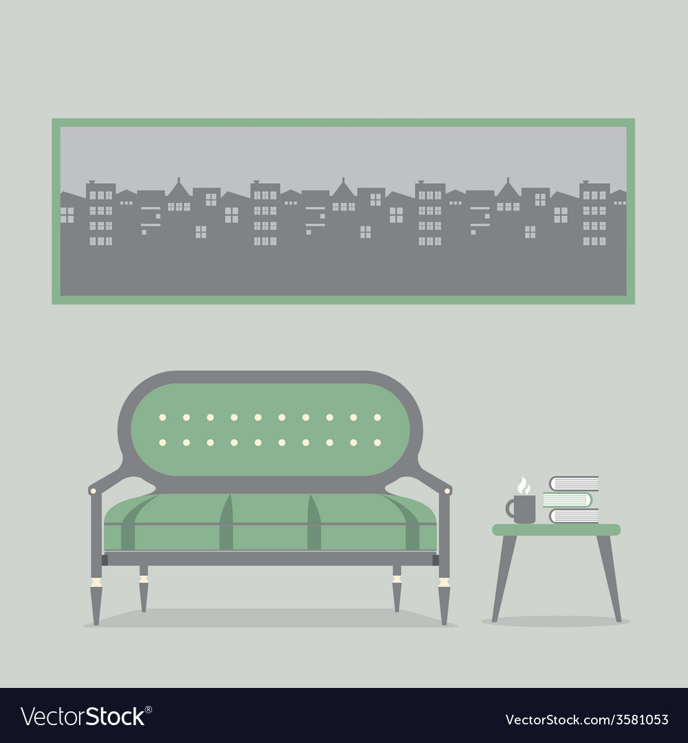 Flat design empty seats vintage interior vector | Price: 1 Credit (USD $1)