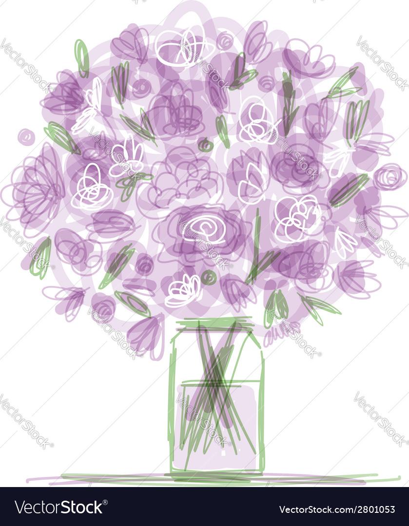 Floral bouquet in jar sketch for your design vector