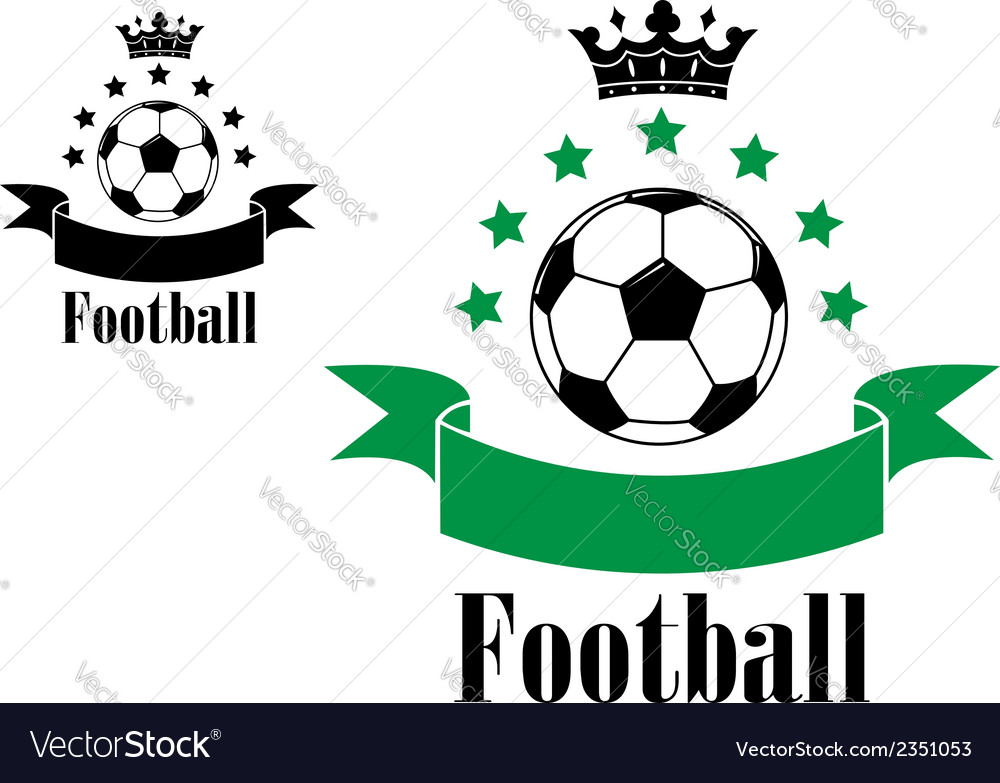 Football or soccer ball symbols with green and vector | Price: 1 Credit (USD $1)
