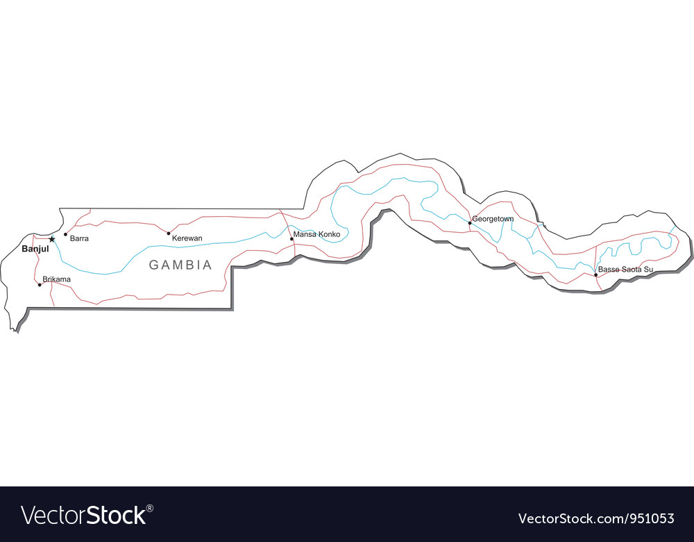 Gambia black white map vector | Price: 1 Credit (USD $1)