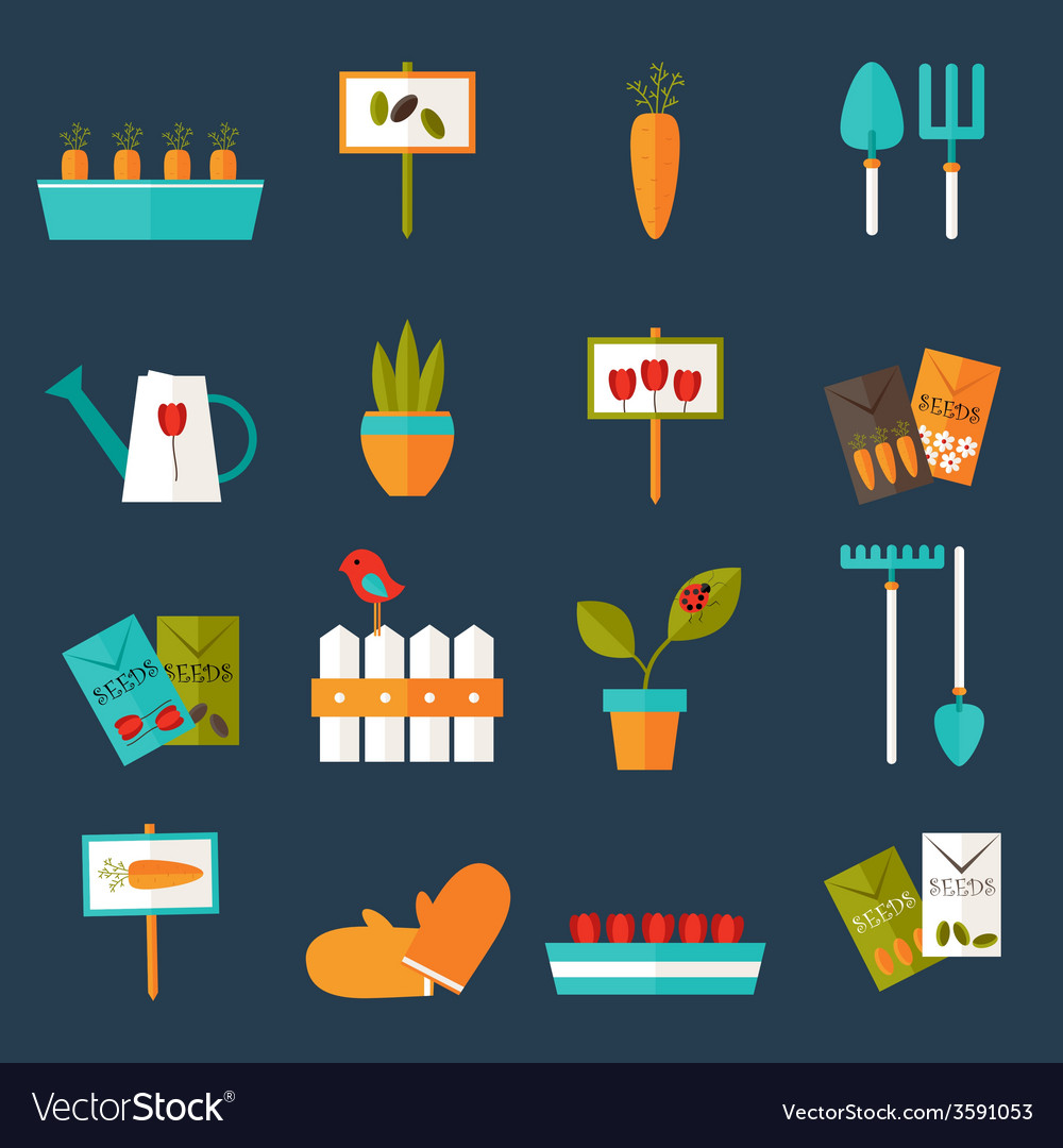 Gardening set icons over blue vector | Price: 1 Credit (USD $1)