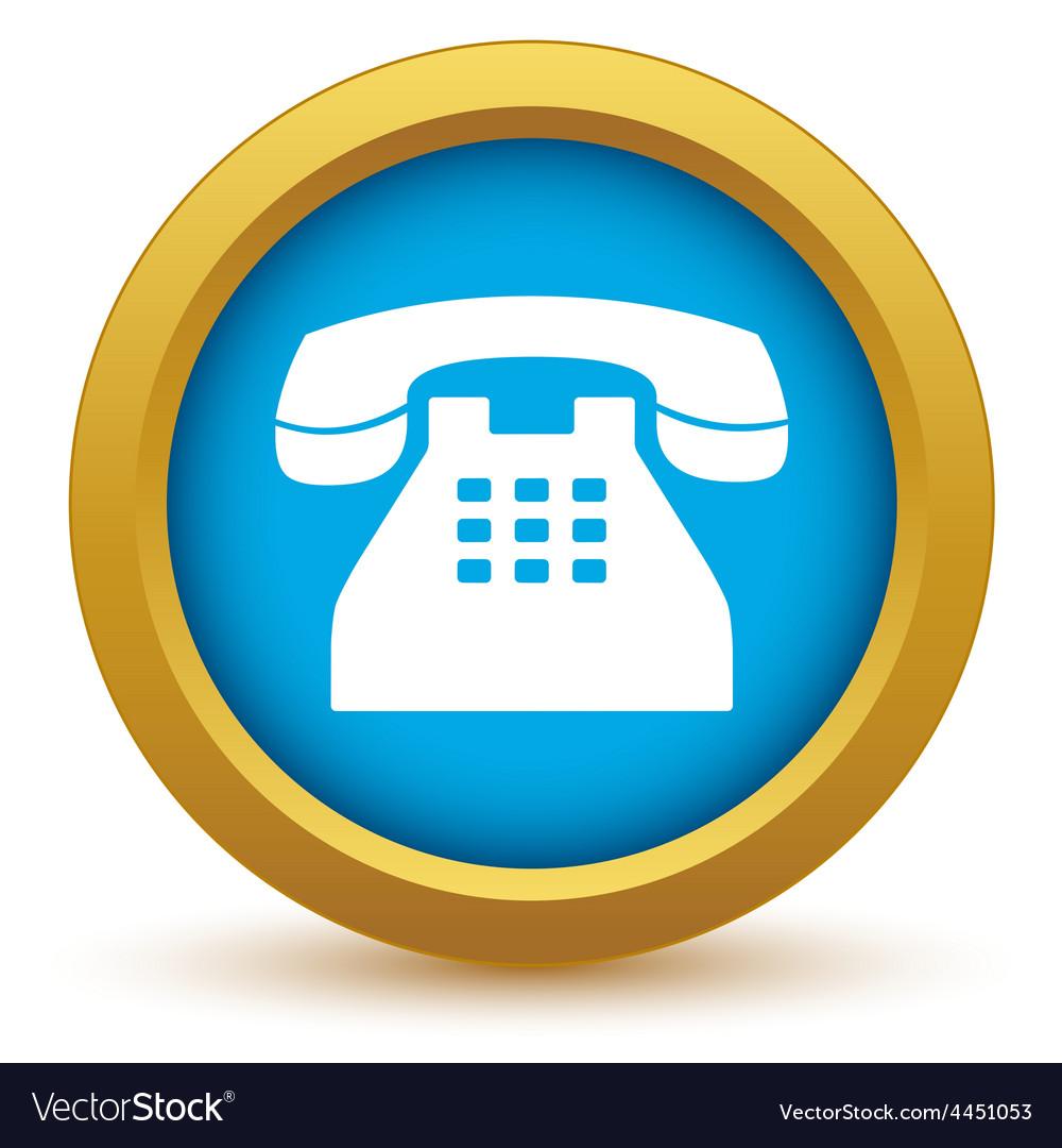 Gold telephone icon vector | Price: 1 Credit (USD $1)
