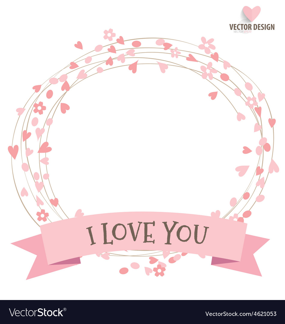 Happy mothers day with ribbon and heart vector | Price: 1 Credit (USD $1)