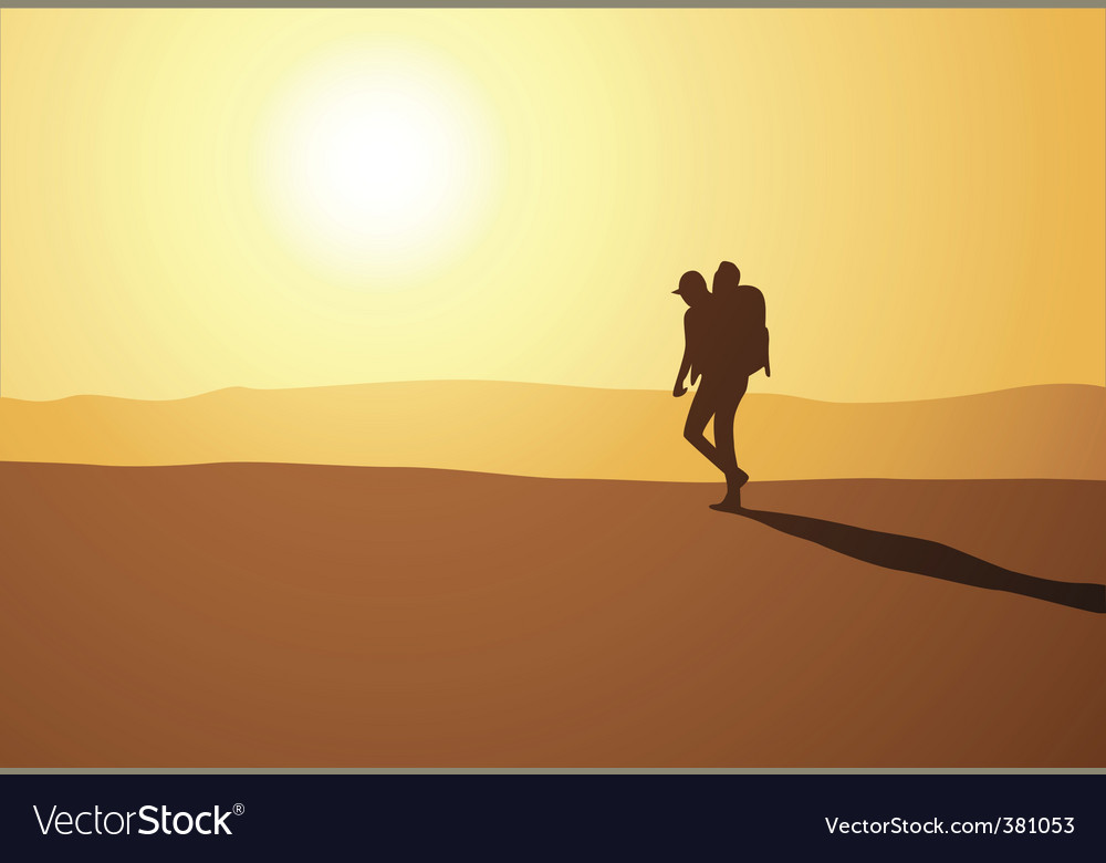 Hike in desert vector | Price: 1 Credit (USD $1)