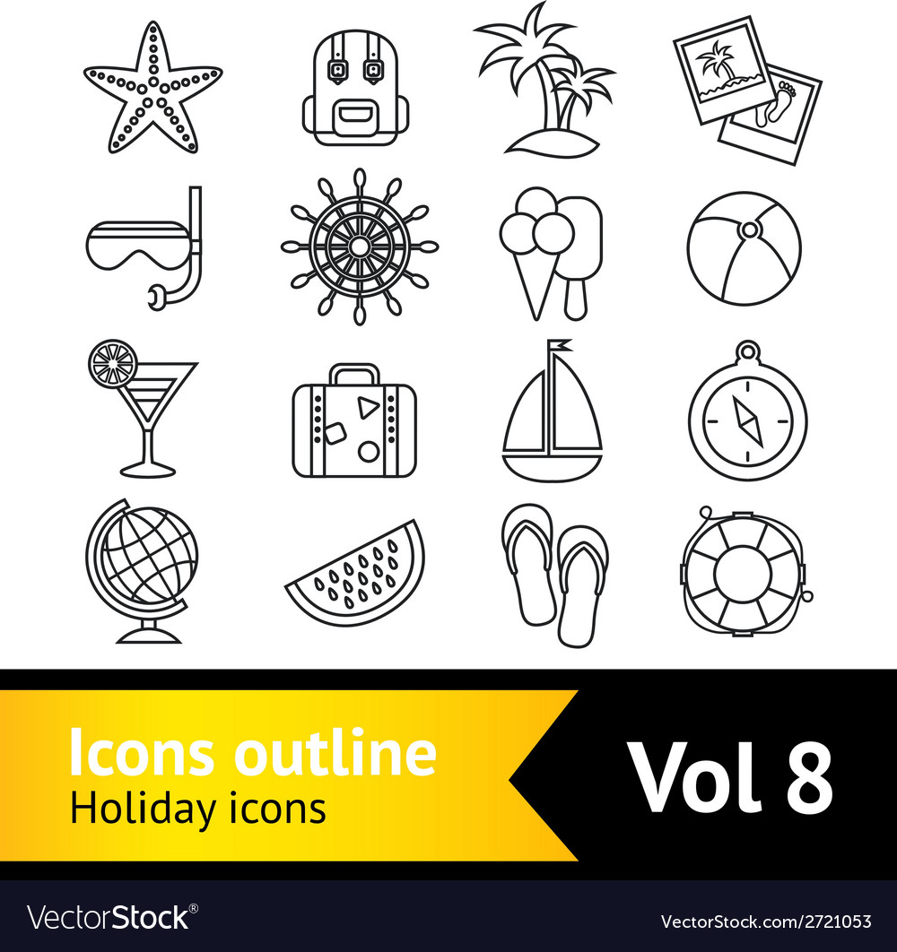 Holiday vacation icons set vector | Price: 1 Credit (USD $1)
