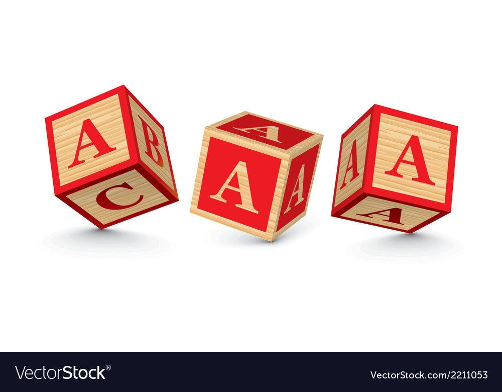 Letter a wooden alphabet blocks vector | Price: 1 Credit (USD $1)