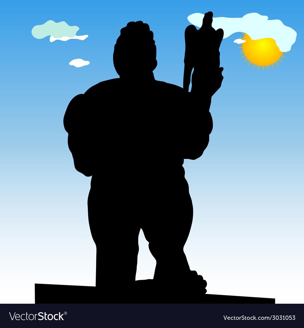 Monument of belgrade winner in close silhouette vector | Price: 1 Credit (USD $1)