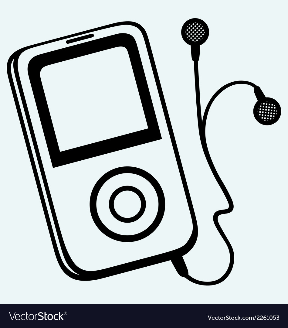 Mp3 player with earphones vector | Price: 1 Credit (USD $1)