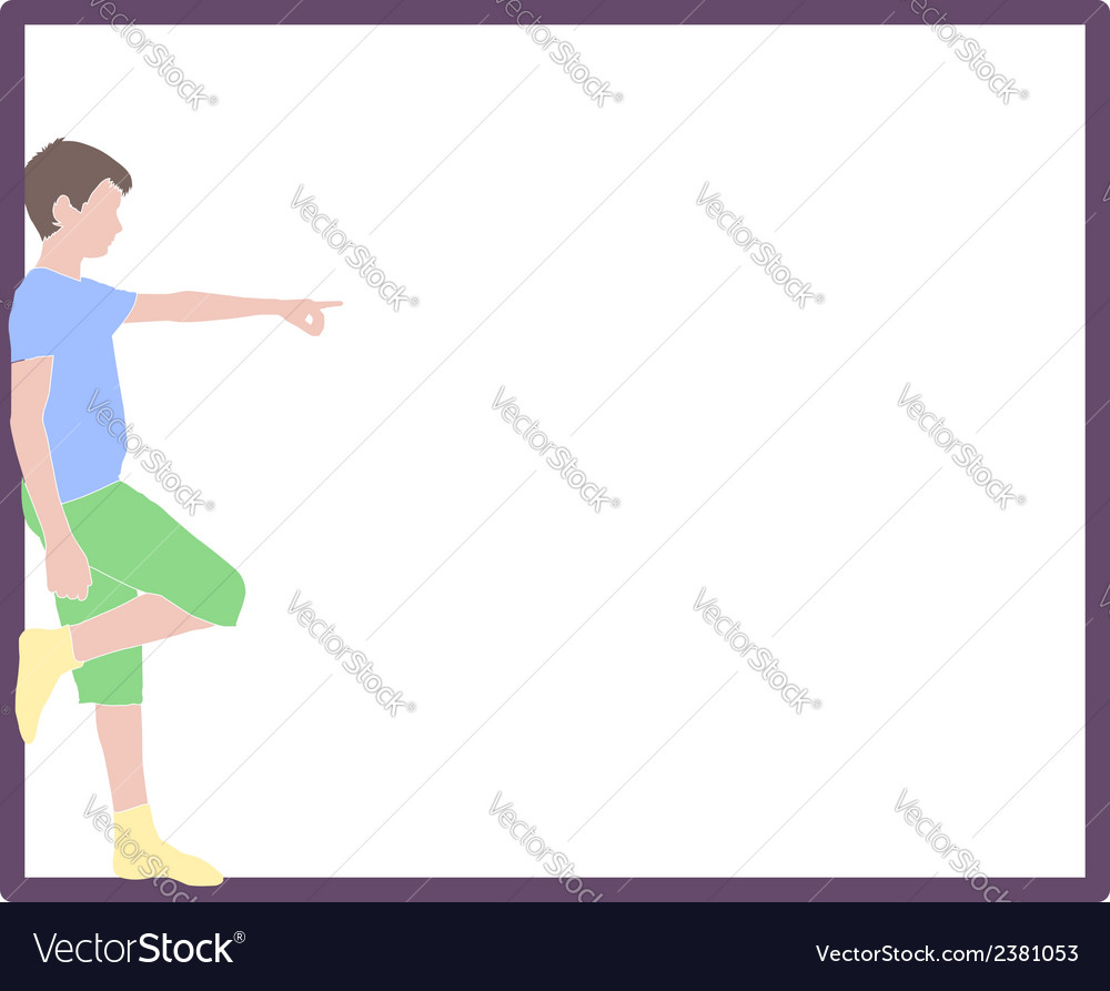 Pointing boy at frame vector | Price: 1 Credit (USD $1)