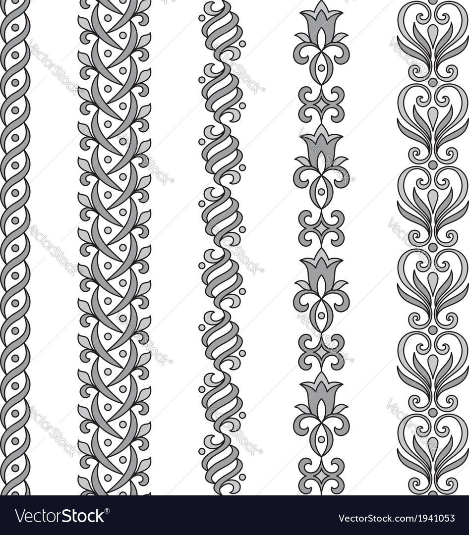 Seamless ornamental borders in grayscale vector | Price: 1 Credit (USD $1)