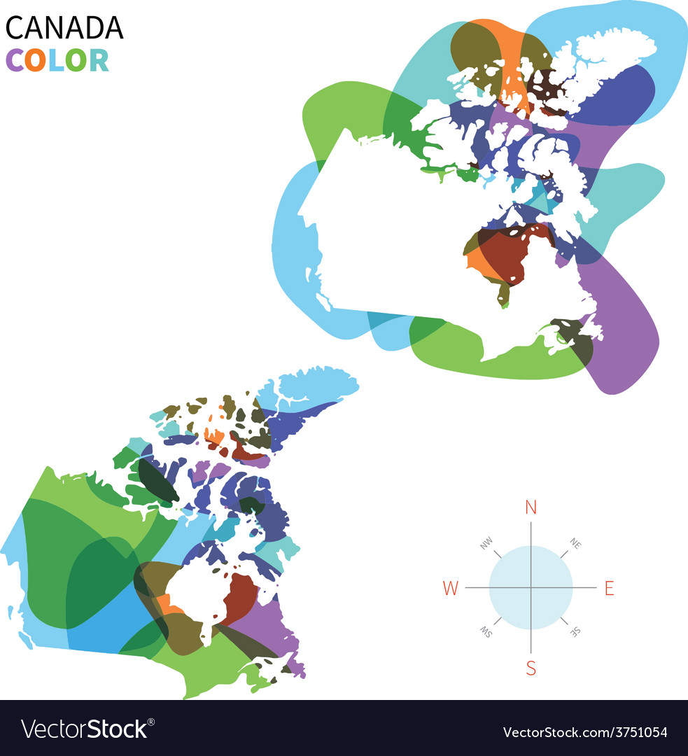 Abstract color map of canada vector | Price: 1 Credit (USD $1)