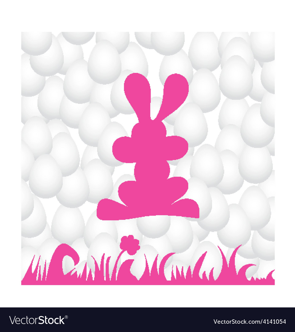 Abstract eggs background with pink rabbit vector | Price: 1 Credit (USD $1)