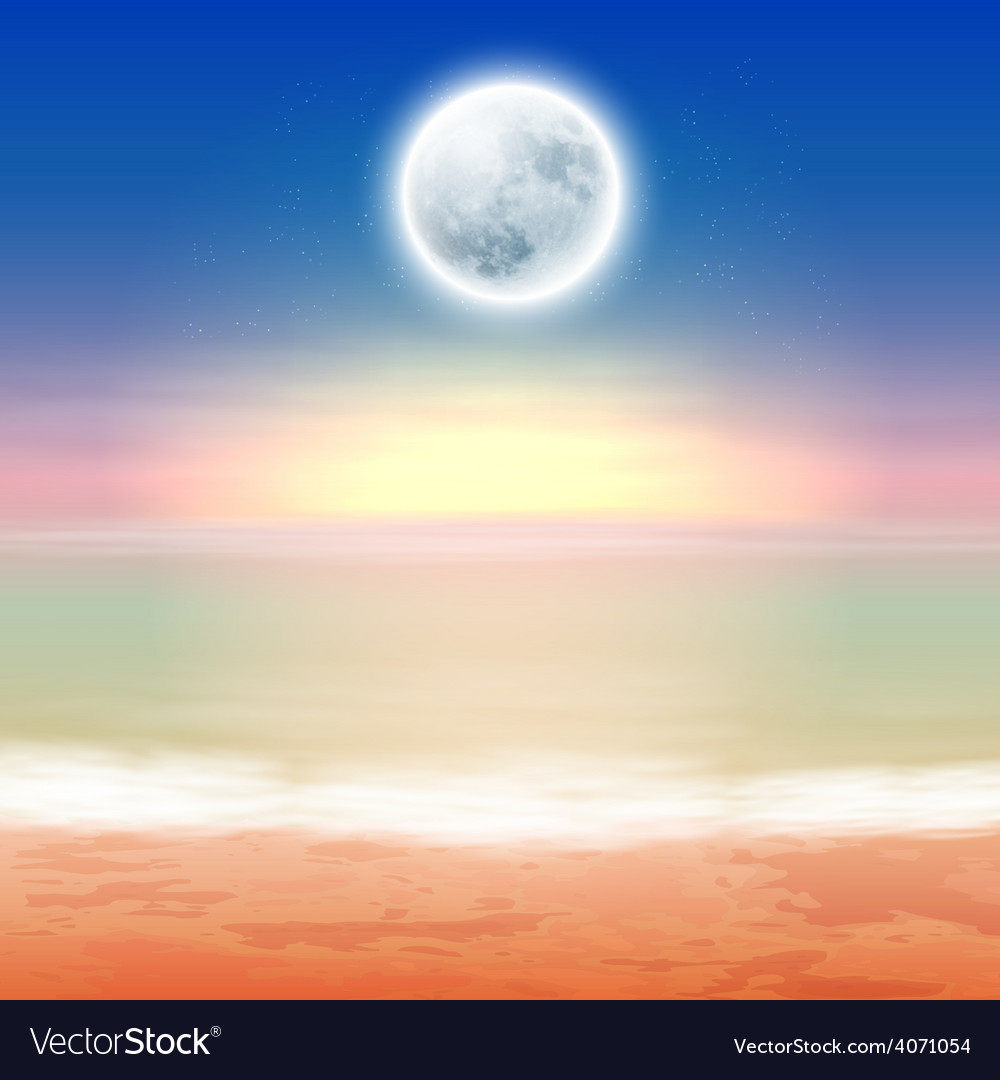 Beach with full moon at night vector | Price: 1 Credit (USD $1)