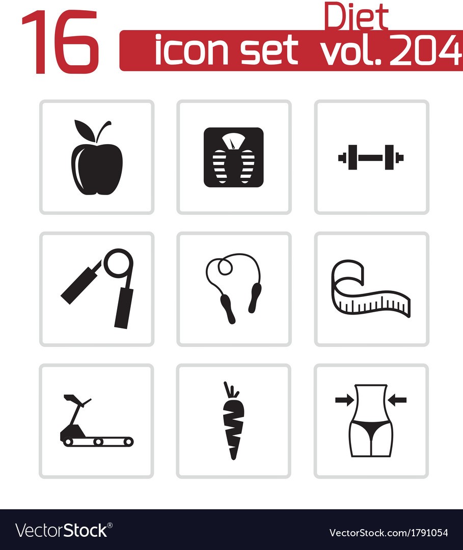 Black diet icons set vector | Price: 1 Credit (USD $1)