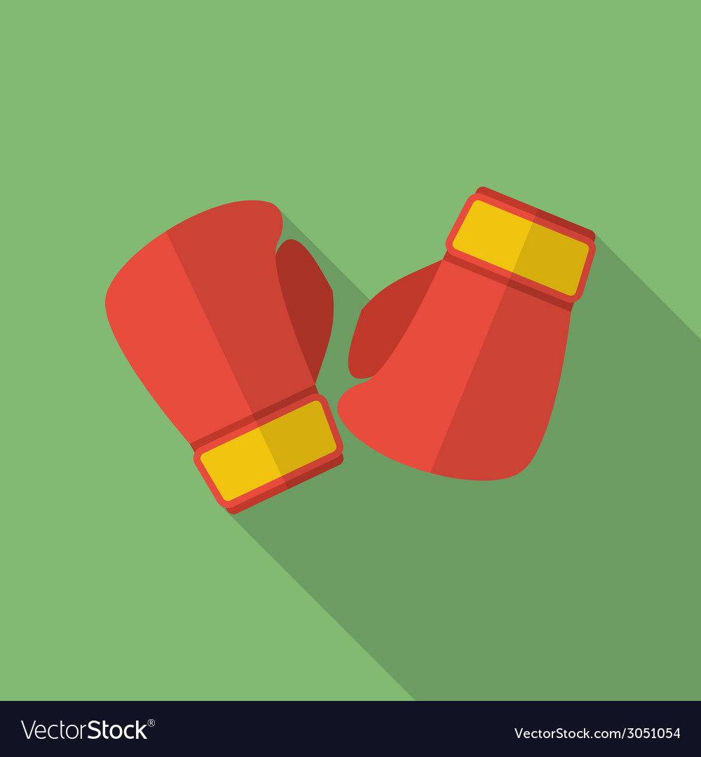 Boxing gloves icon modern flat style with a long vector | Price: 1 Credit (USD $1)