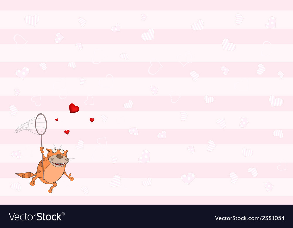 Cat and hearts postcard vector | Price: 1 Credit (USD $1)