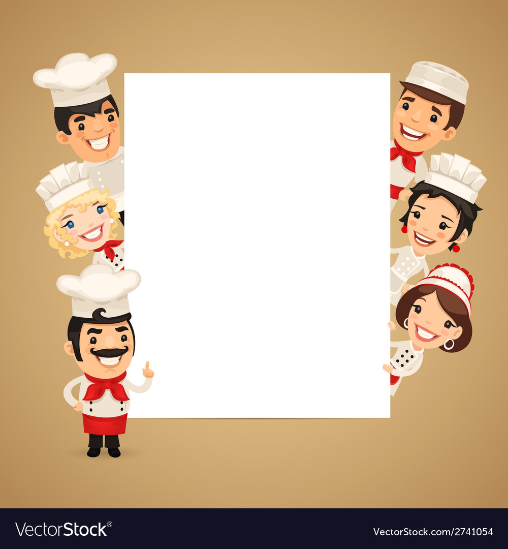 Chefs presenting empty vertical banner vector | Price: 1 Credit (USD $1)