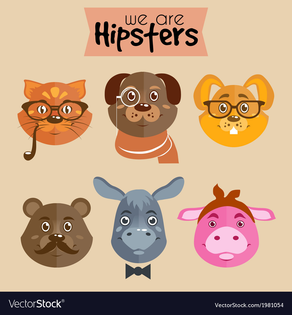 Collection of hipster cartoon character animals vector | Price: 1 Credit (USD $1)