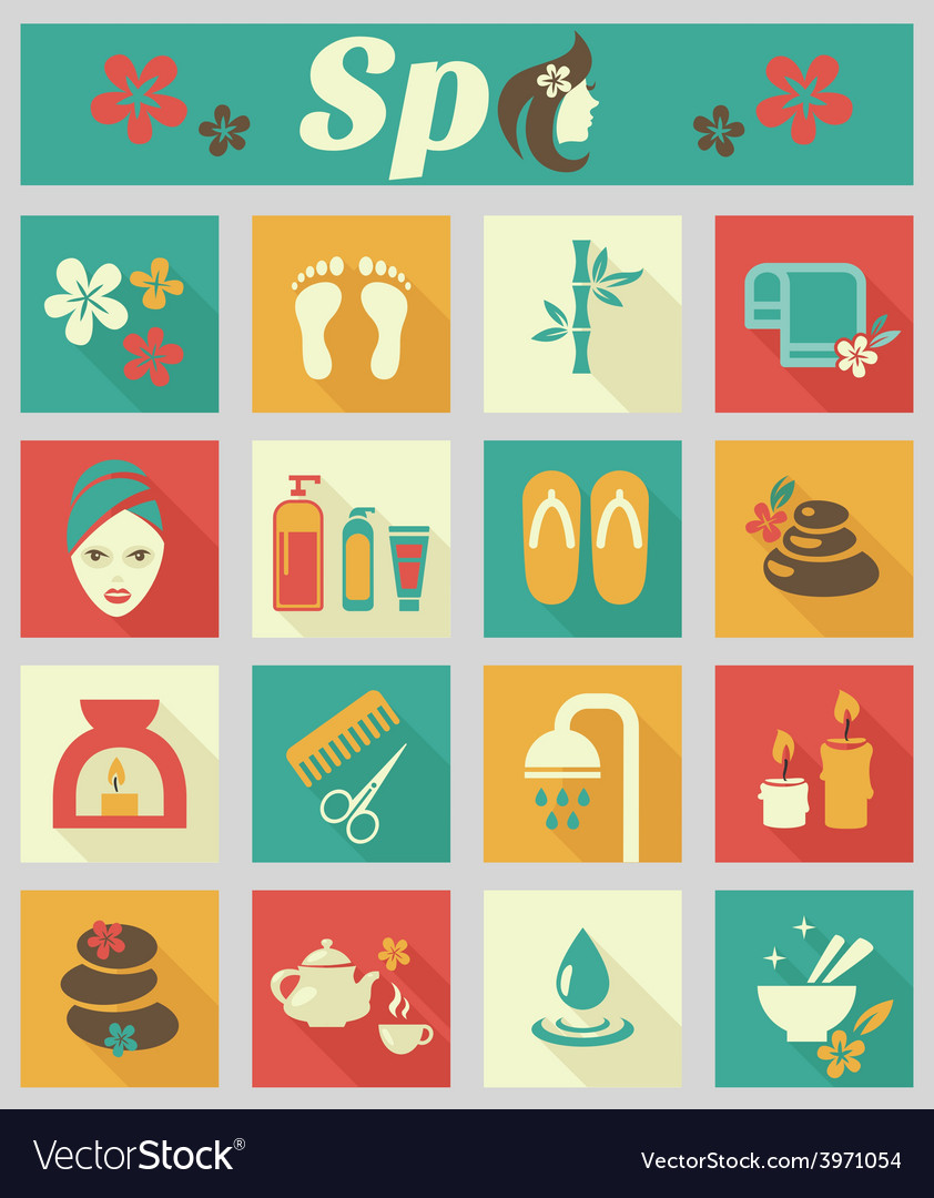 Colored flat spa icons vector | Price: 1 Credit (USD $1)