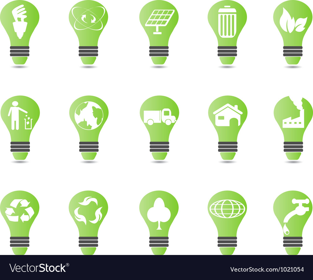 Green light bulb icon set vector | Price: 1 Credit (USD $1)