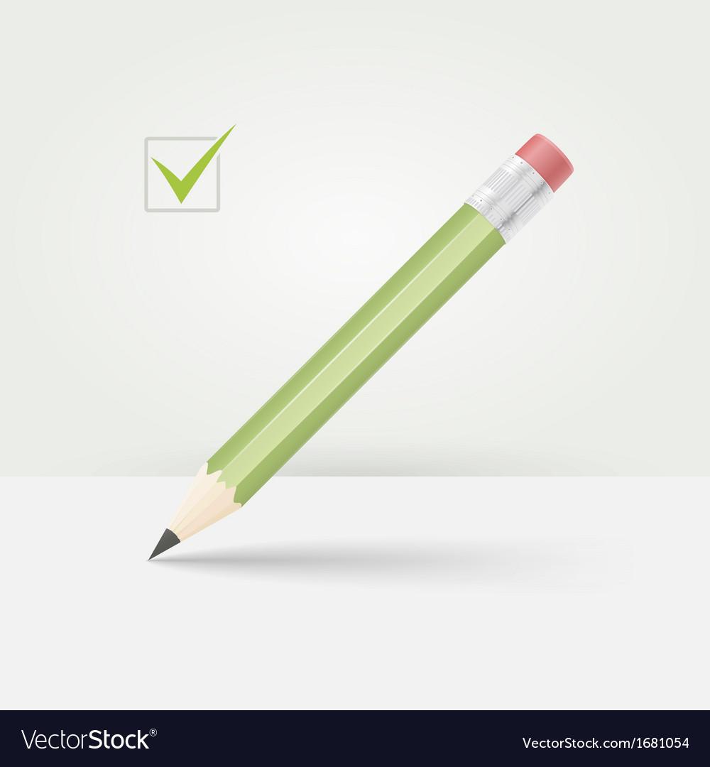 Green wooden pencil vector