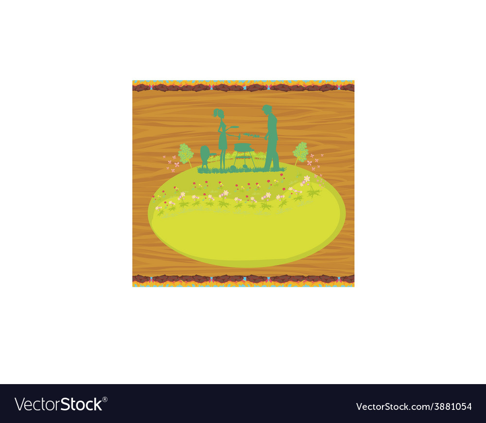 Happy family with barbecue - abstract card vector | Price: 1 Credit (USD $1)