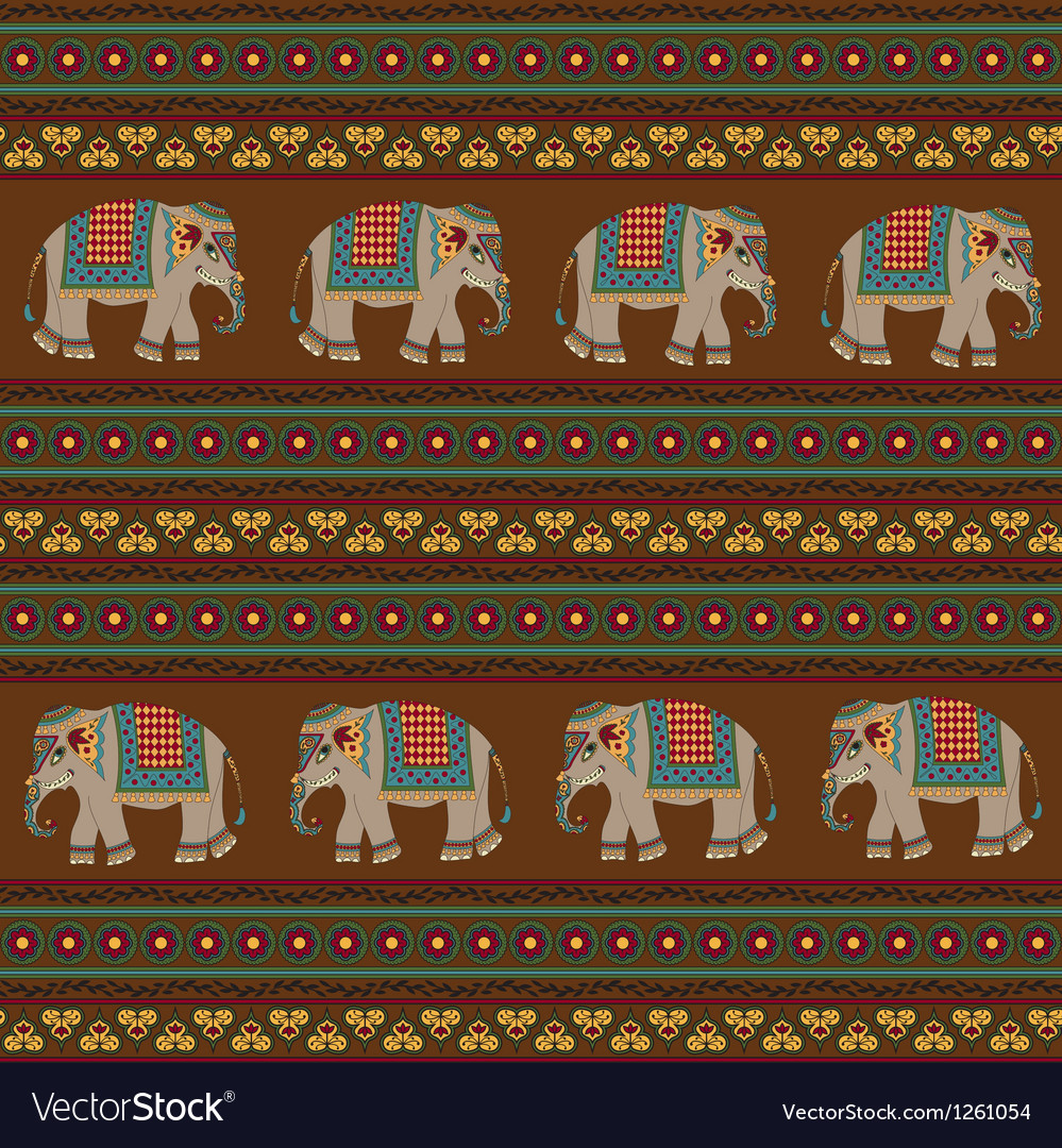 Indian pattern with elephant vector | Price: 1 Credit (USD $1)